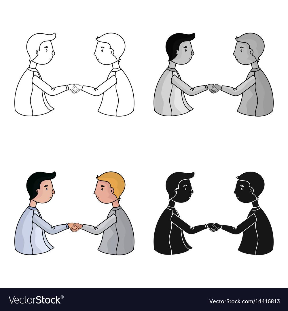 Handshaking of businessmen icon in cartoon style