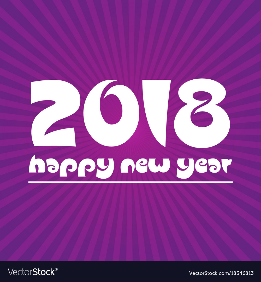 Happy new year 2018 on purple stripped background