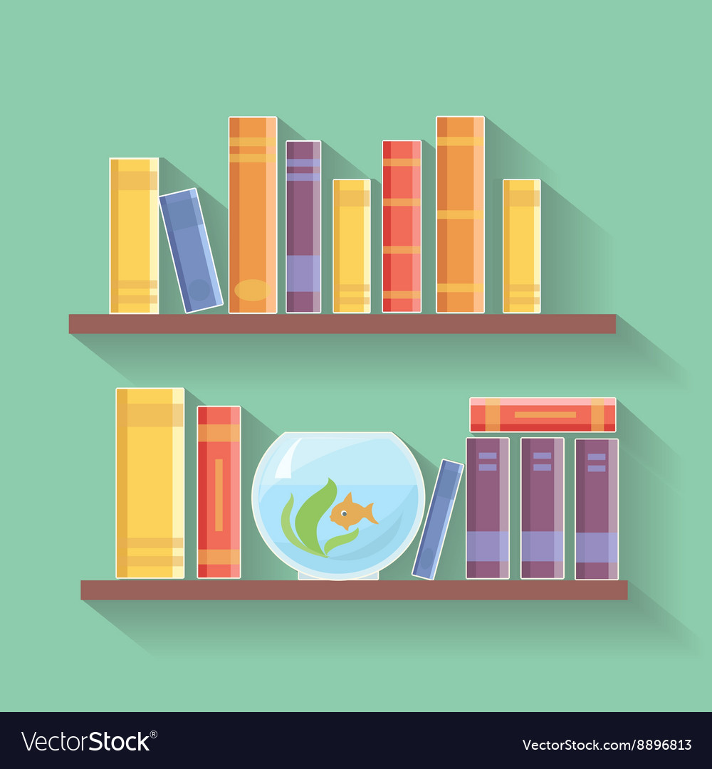 Home library flat Bookshelves with