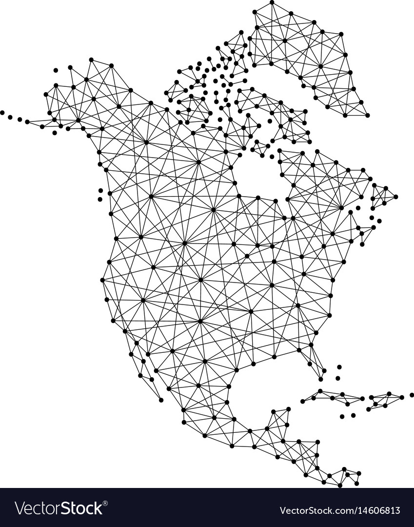 Map of north america from polygonal black lines