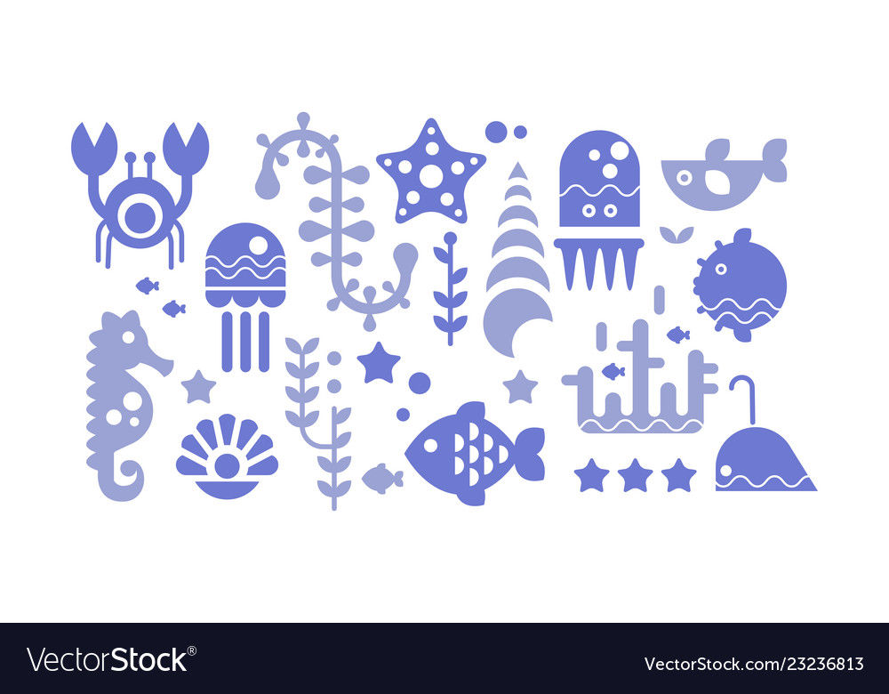 Marine life blue icons set sea creatures