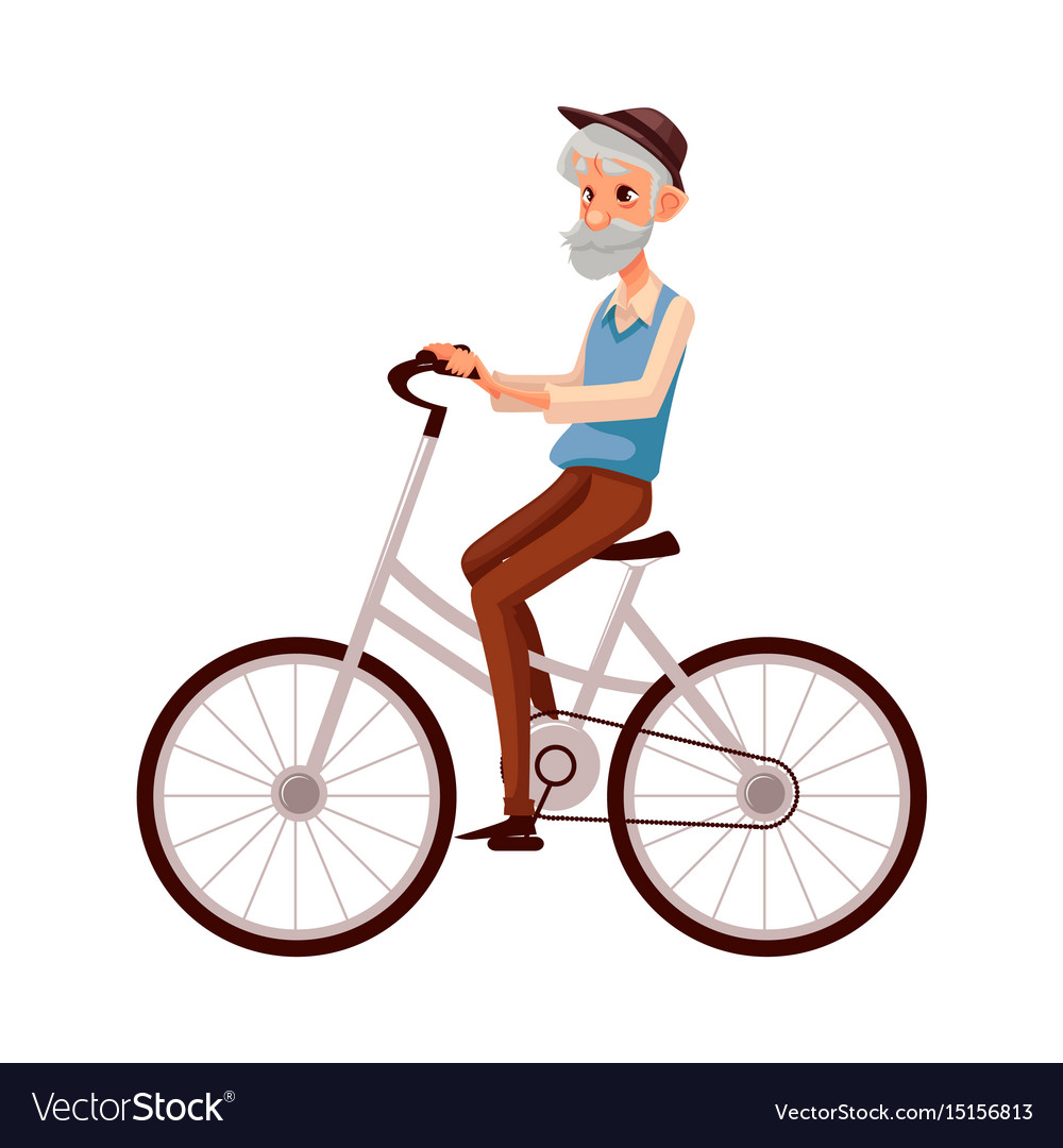15af84e61b71 Old man in vest and hat riding a bicycle cycling Vector Image