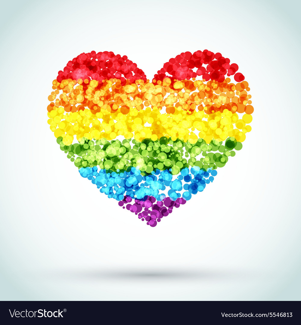 Rainbow Button Heart LGBT Background vector image