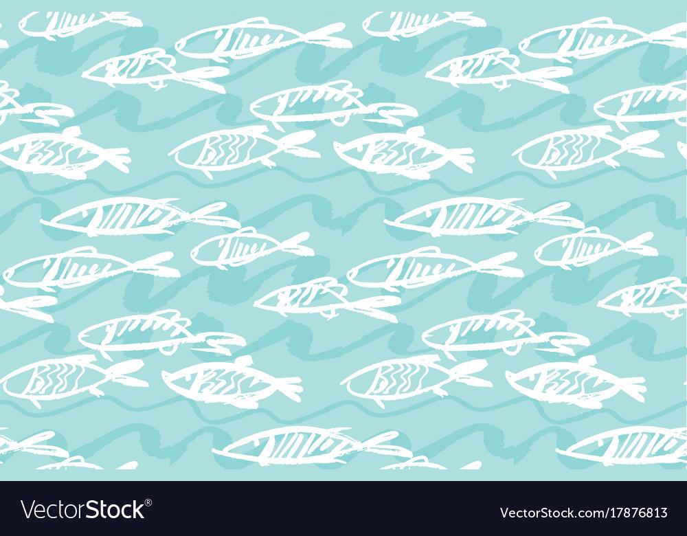Seafood fish seamless pattern for menu poster