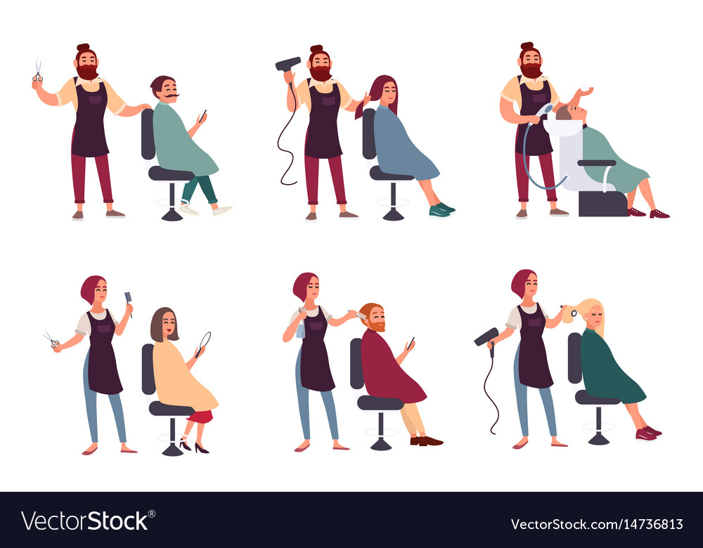 Set of different hairdresser trendy man and woman