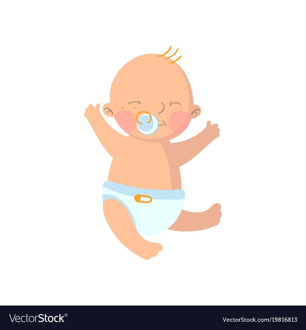 sweet baby boy in diaper with pacifier cartoon vector image