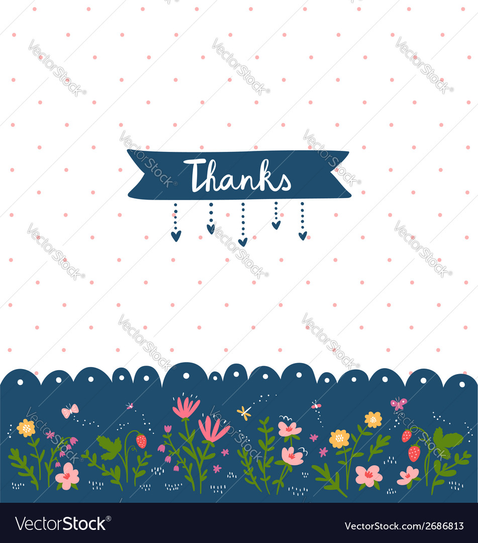 Thank you card with floral decorations vector image