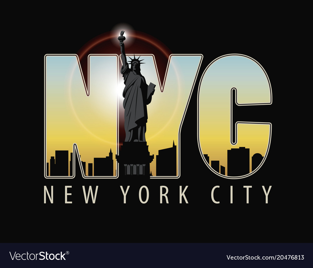 The letters nyc on the landscape of new york vector image