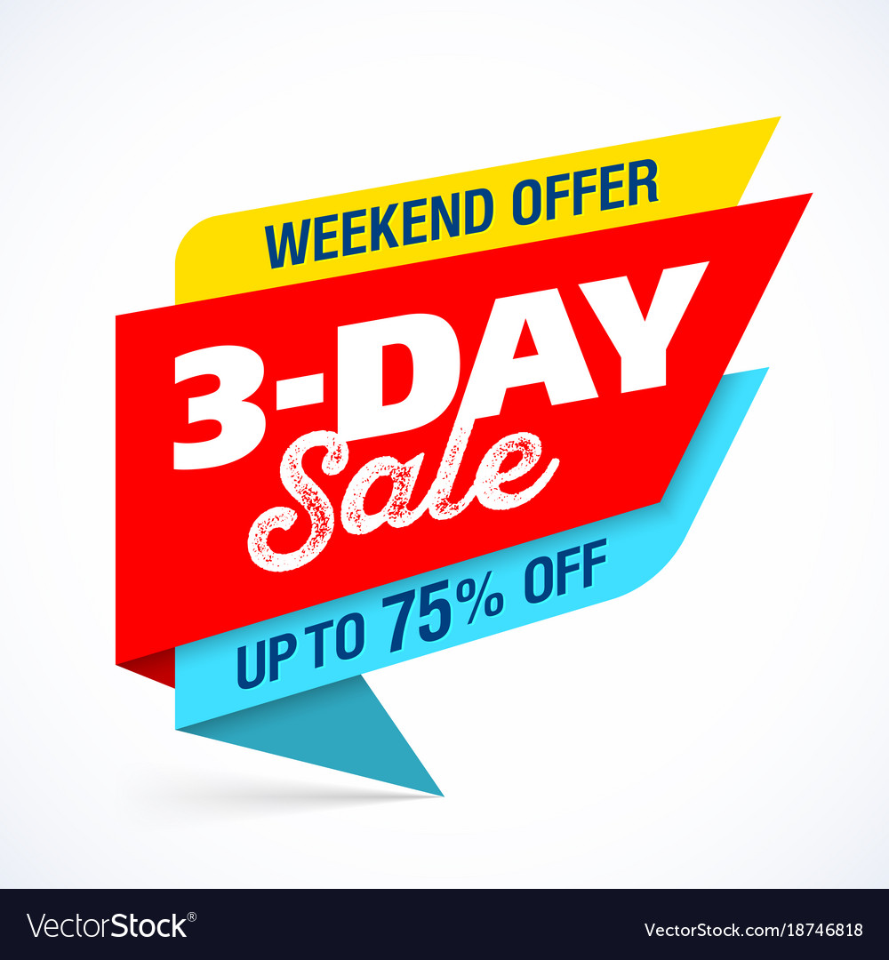 3 day sale banner design template special weekend vector image
