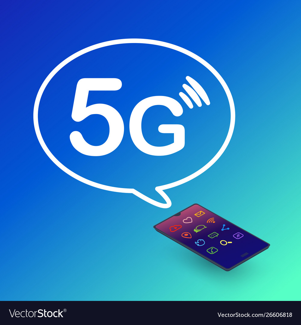 5g technology smartphone with symbol