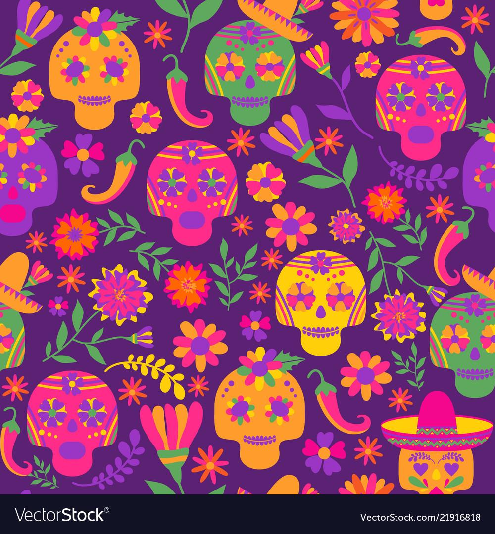Dia de los muertos seamless pattern the