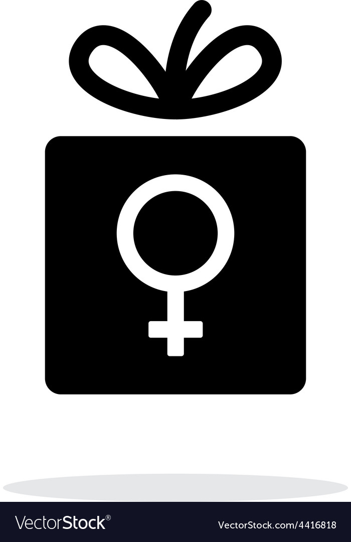 Female gift icon on white background