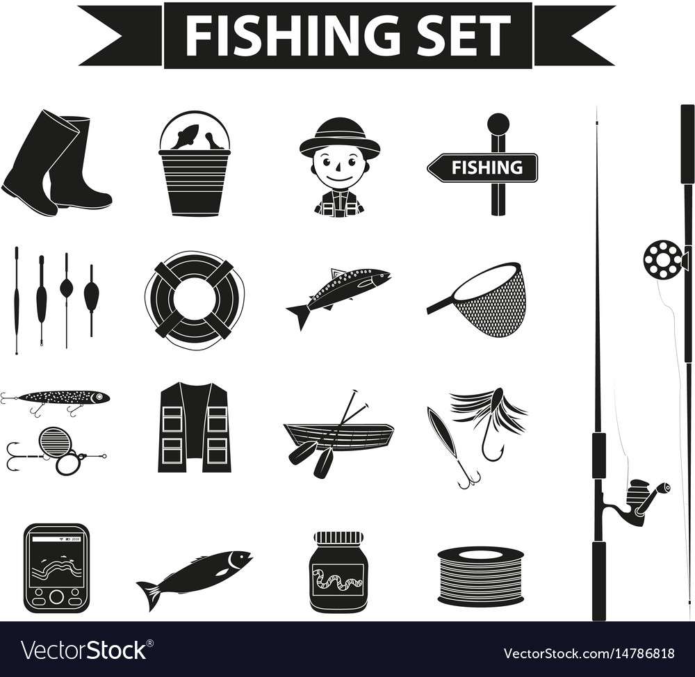 Fishing icon set black silhouette outline style
