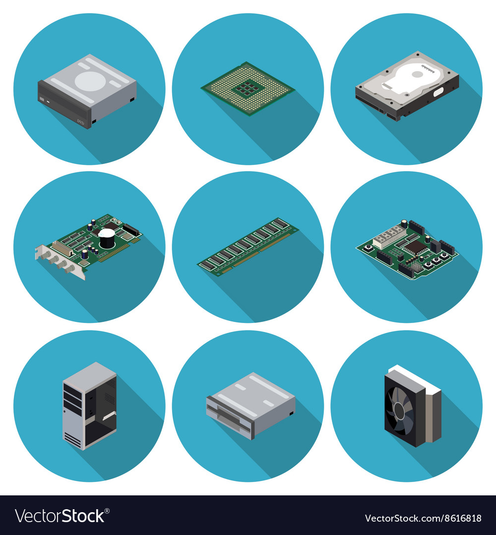 Flat icons computer components vector image