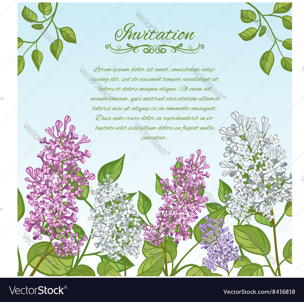Floral card with lilacs on blue background