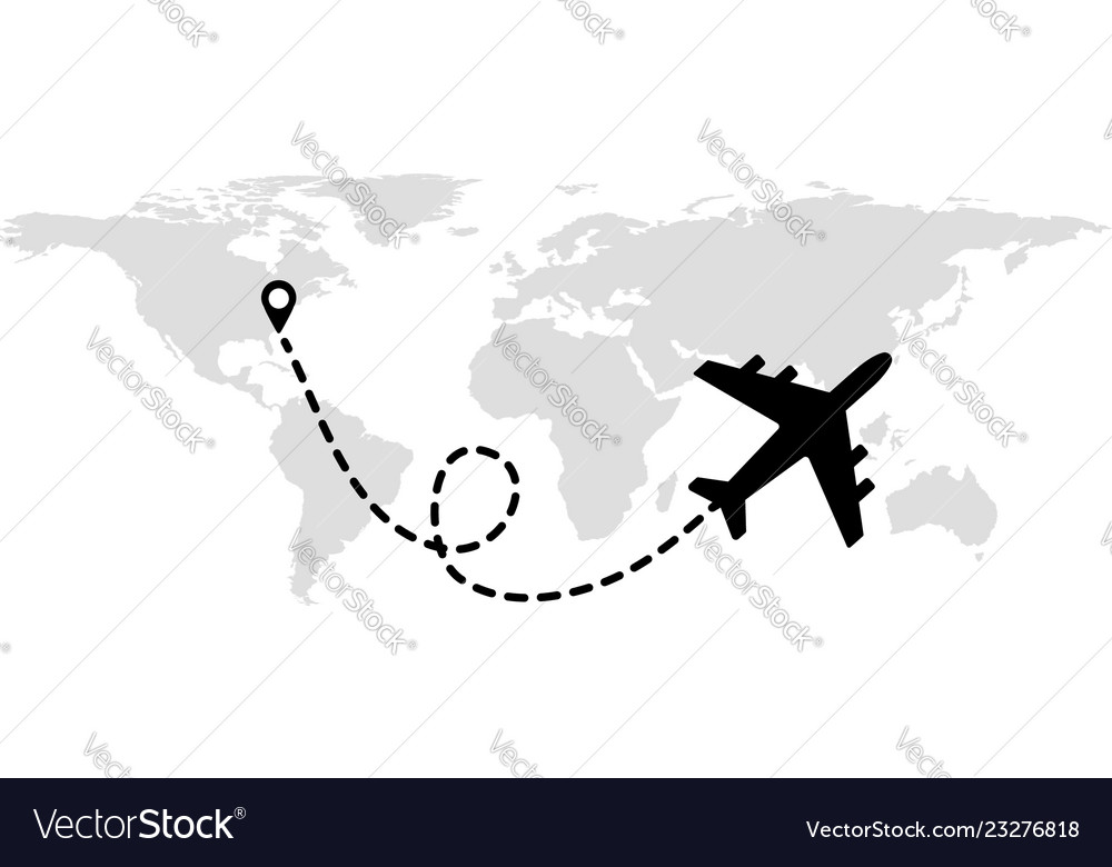 Flying plane on the background of the world map