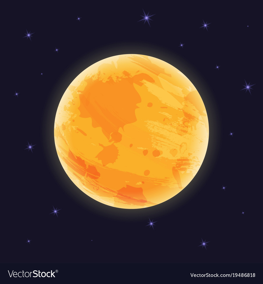 Graphic moon on night sky with starlight