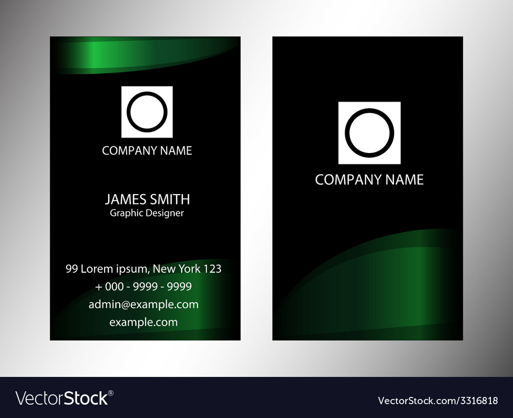 Green and black vertical business card