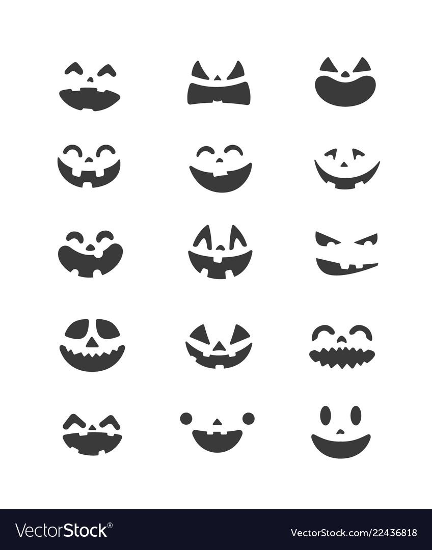 Halloween pumpkin faces set clipart