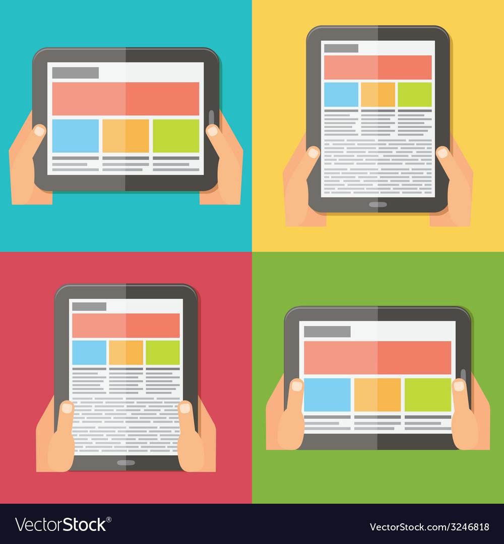 Hands holding digital tablet responsive design