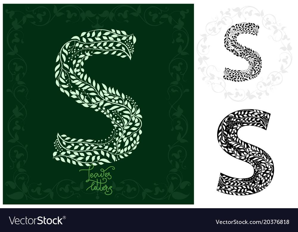 Leaves alphabet letter s