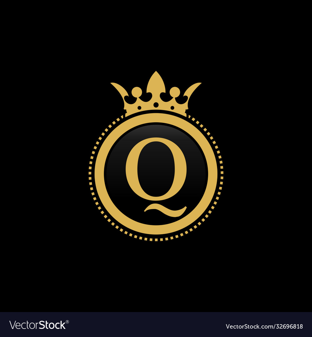 Letter q royal crown luxury logo design