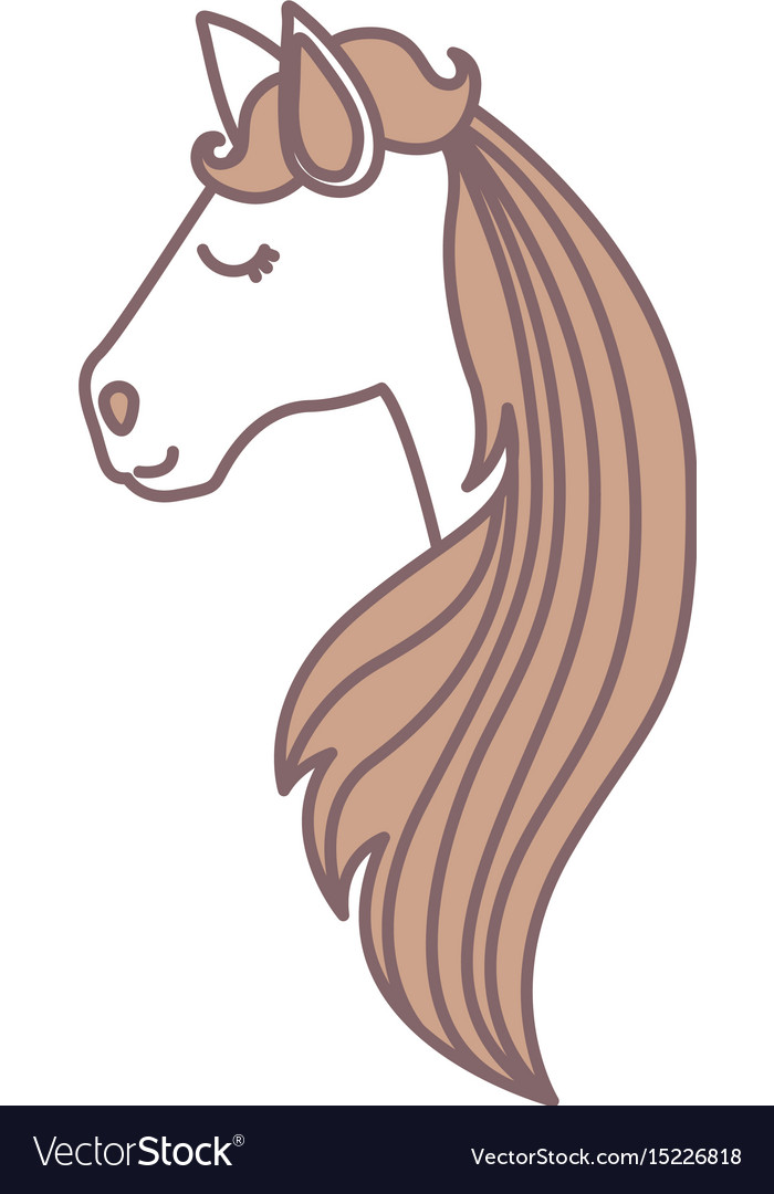 Light Colors Face Side View Female Horse Vector Image