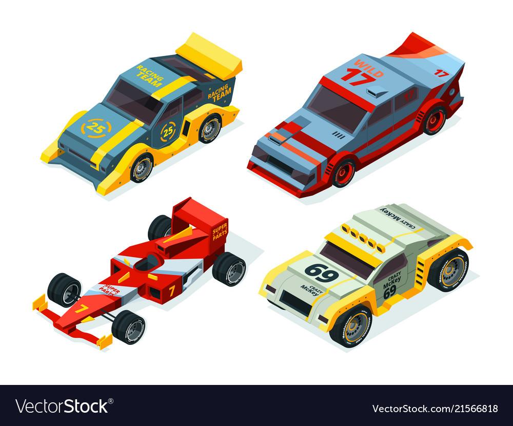 Race car set 3d racing cars isometric sport