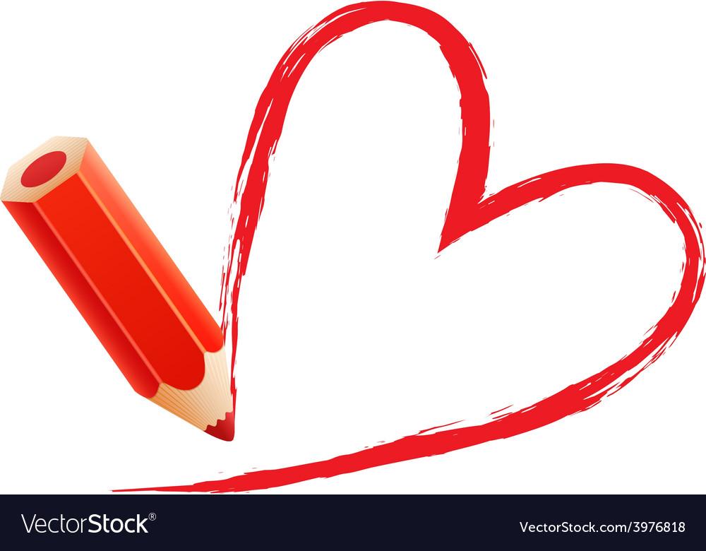 Red chalk heart