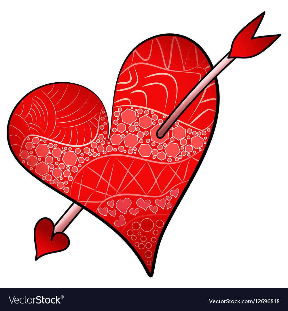 Red Valentines Day Detailed Heart Pierced An Arrow