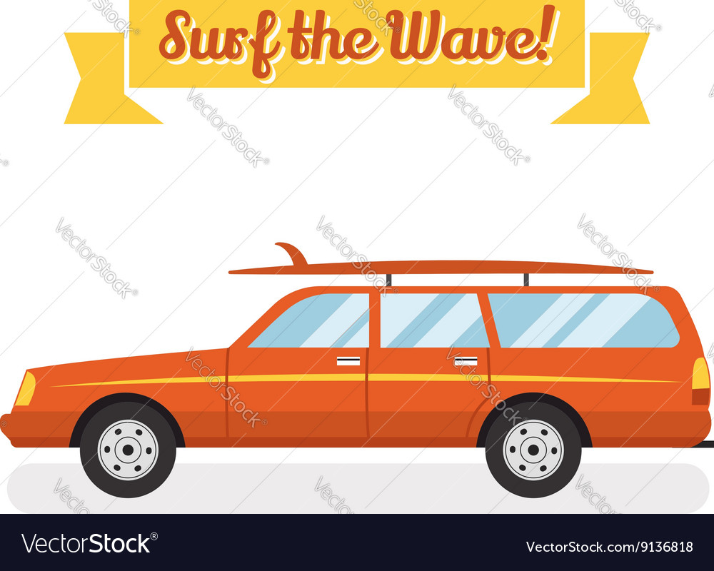 Retro flat web banner design on surfing