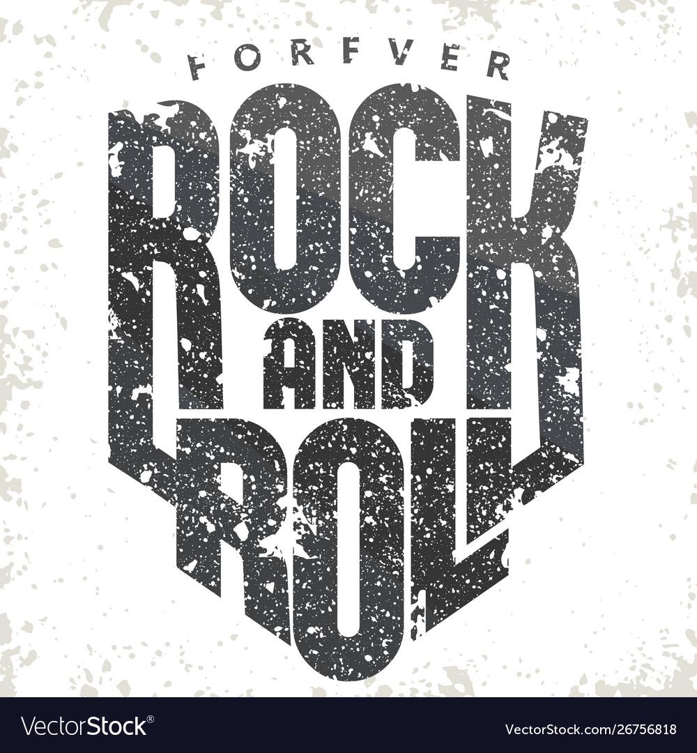 Rock music print vintage label t-shirt print