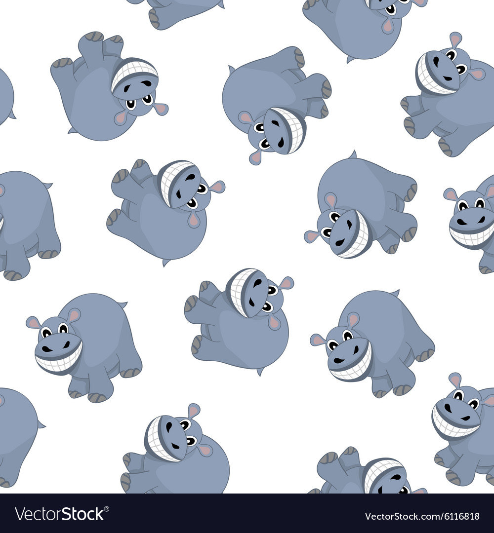 Samless Funny Cartoon Hippo vector image