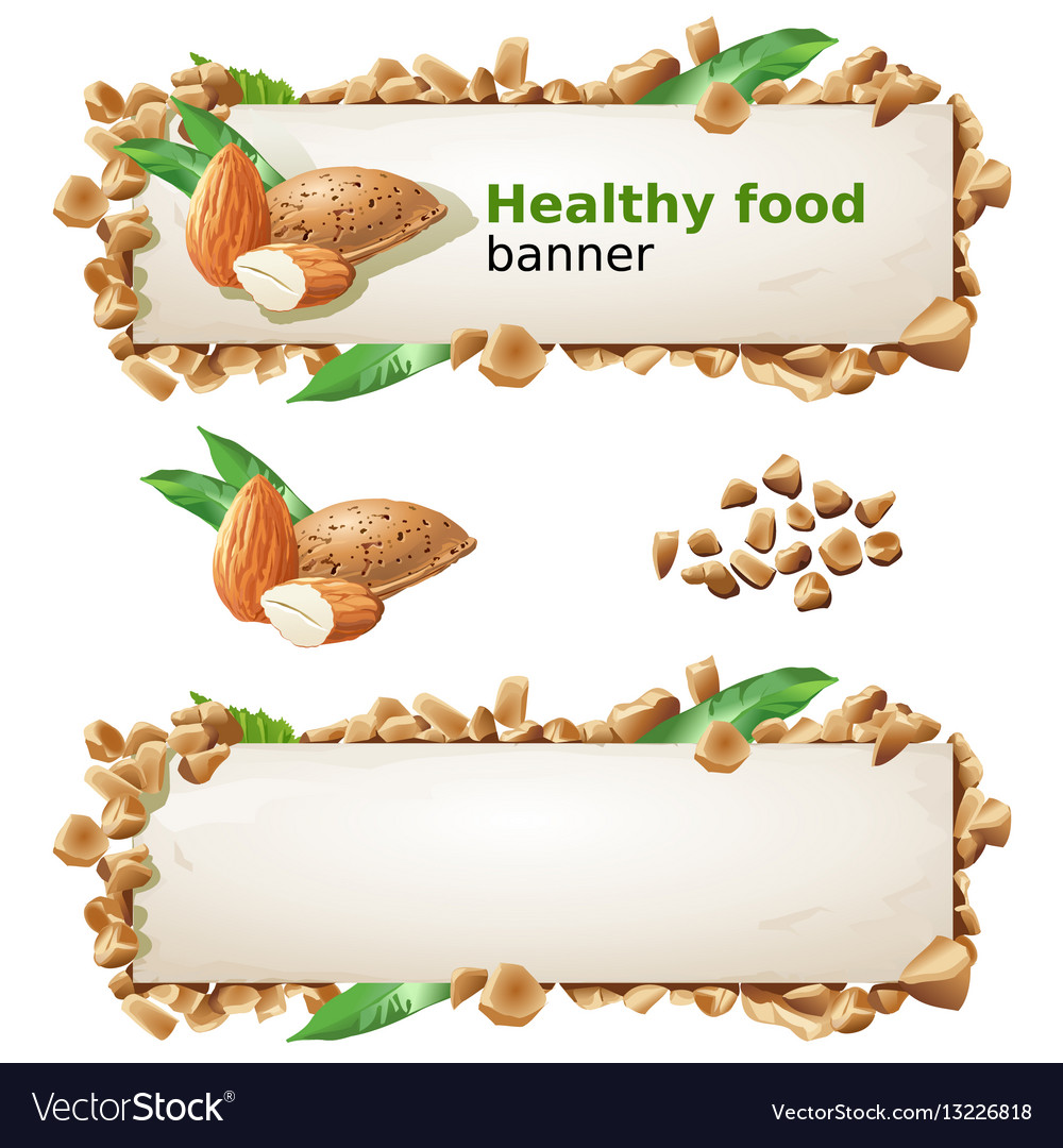 Set banners with almond and ground nuts vector image