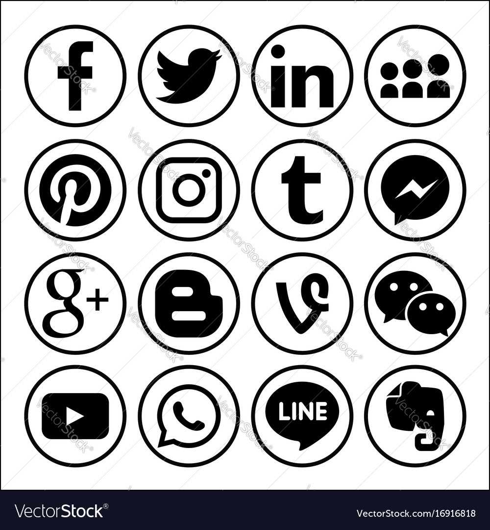 Set of popular social media logos web icon