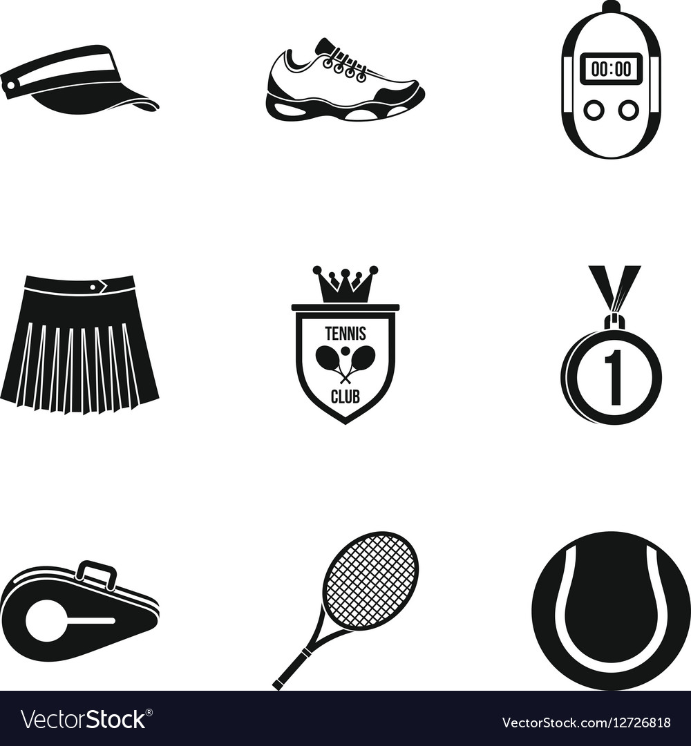 Sport with racket icons set simple style