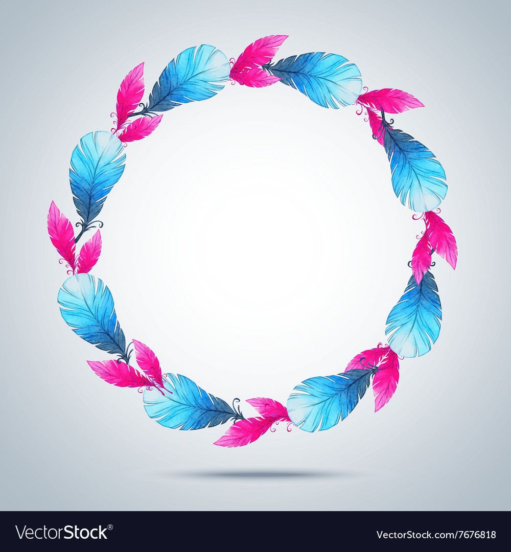 Watercolor wreath of feathers