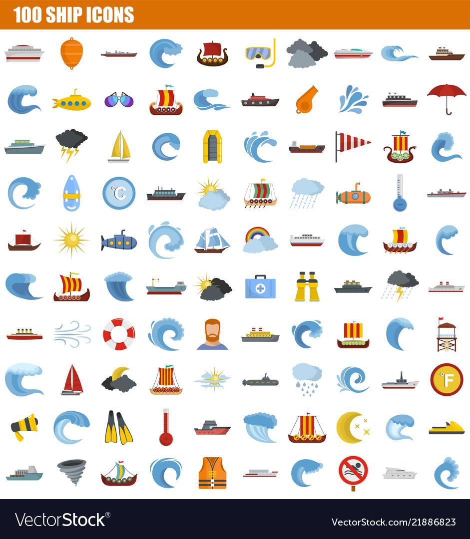 100 ship icon set flat style