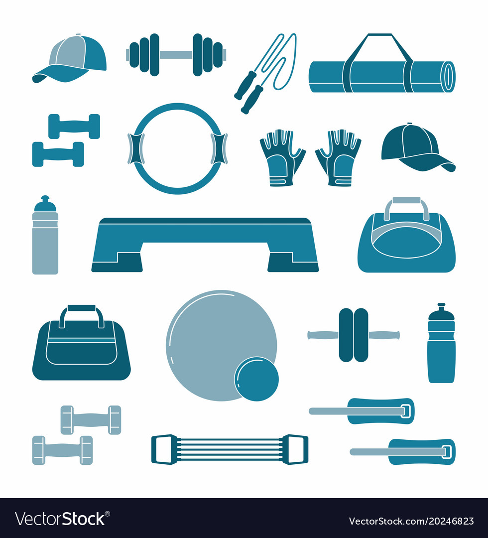 Accessories for fitness two-tone silhouette icons vector image