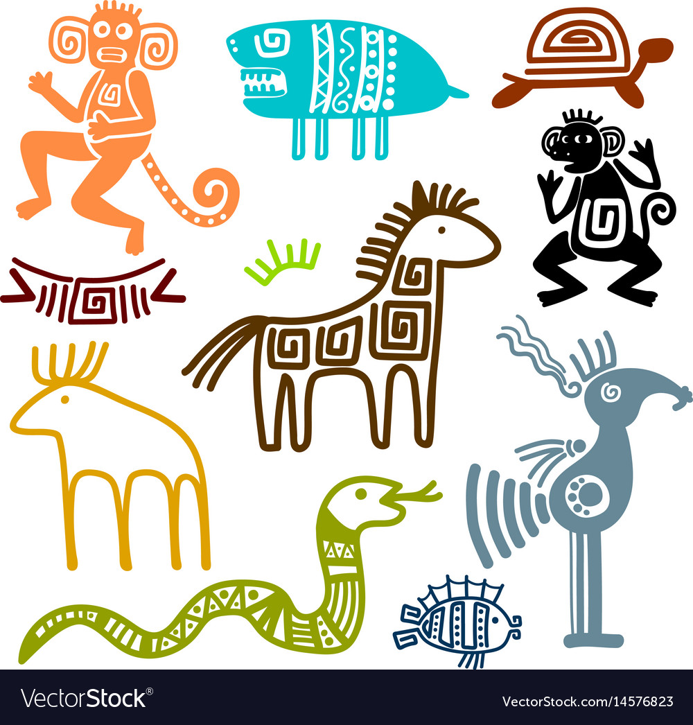 Aztec And Maya Ancient Animal Symbols Royalty Free Vector