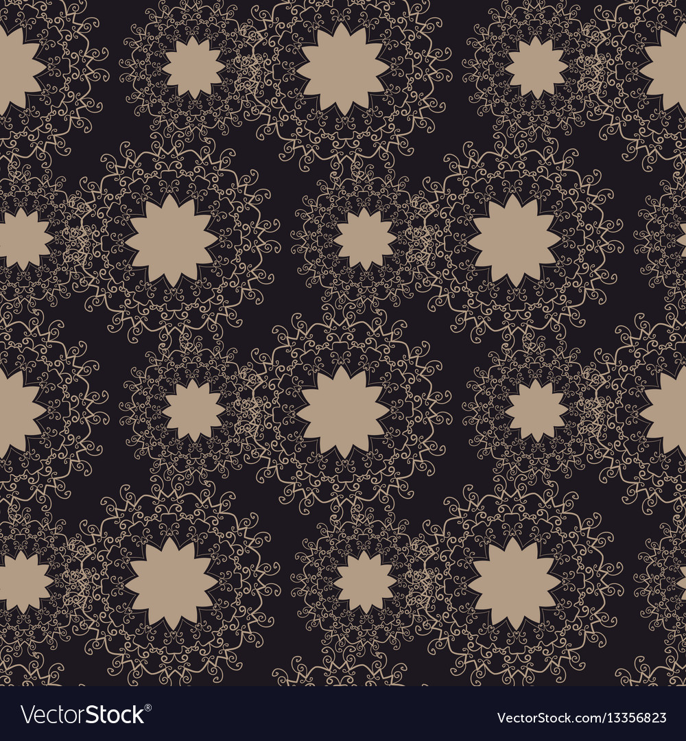 Brown seamless tile with abstract flowers vector image