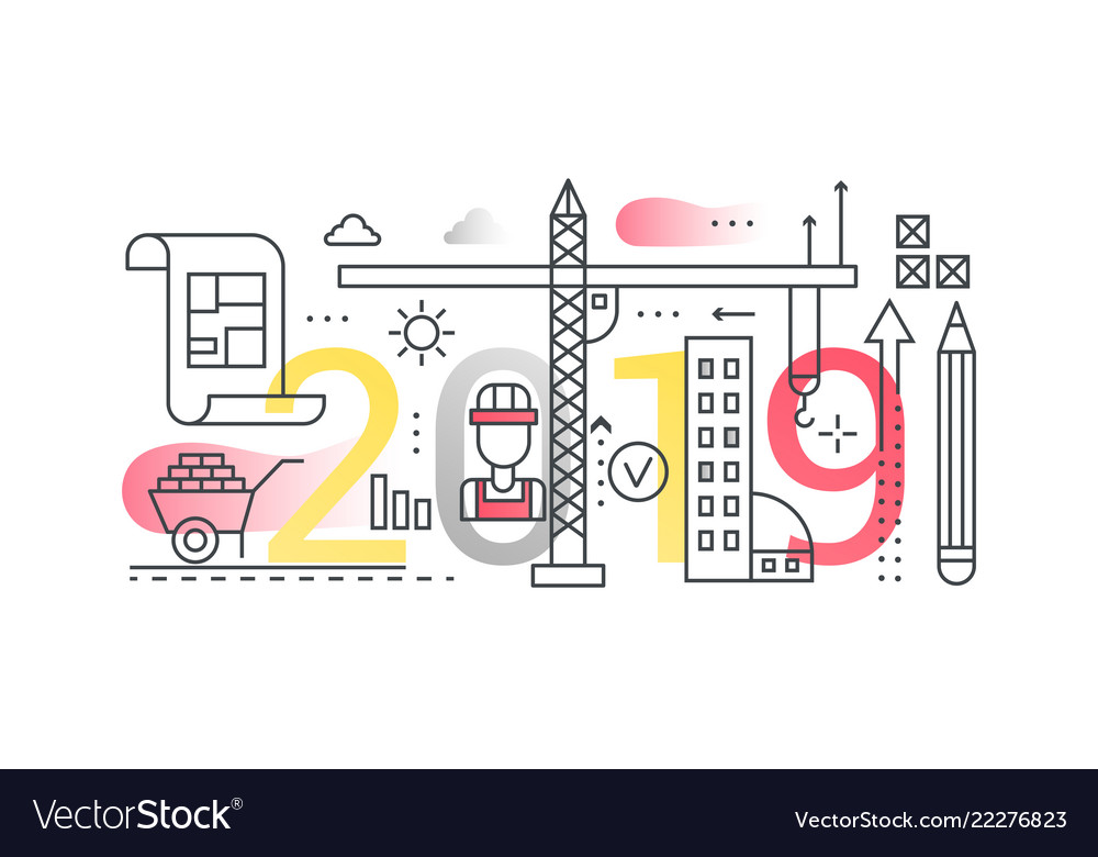 Building construction 2019 word trendy composition