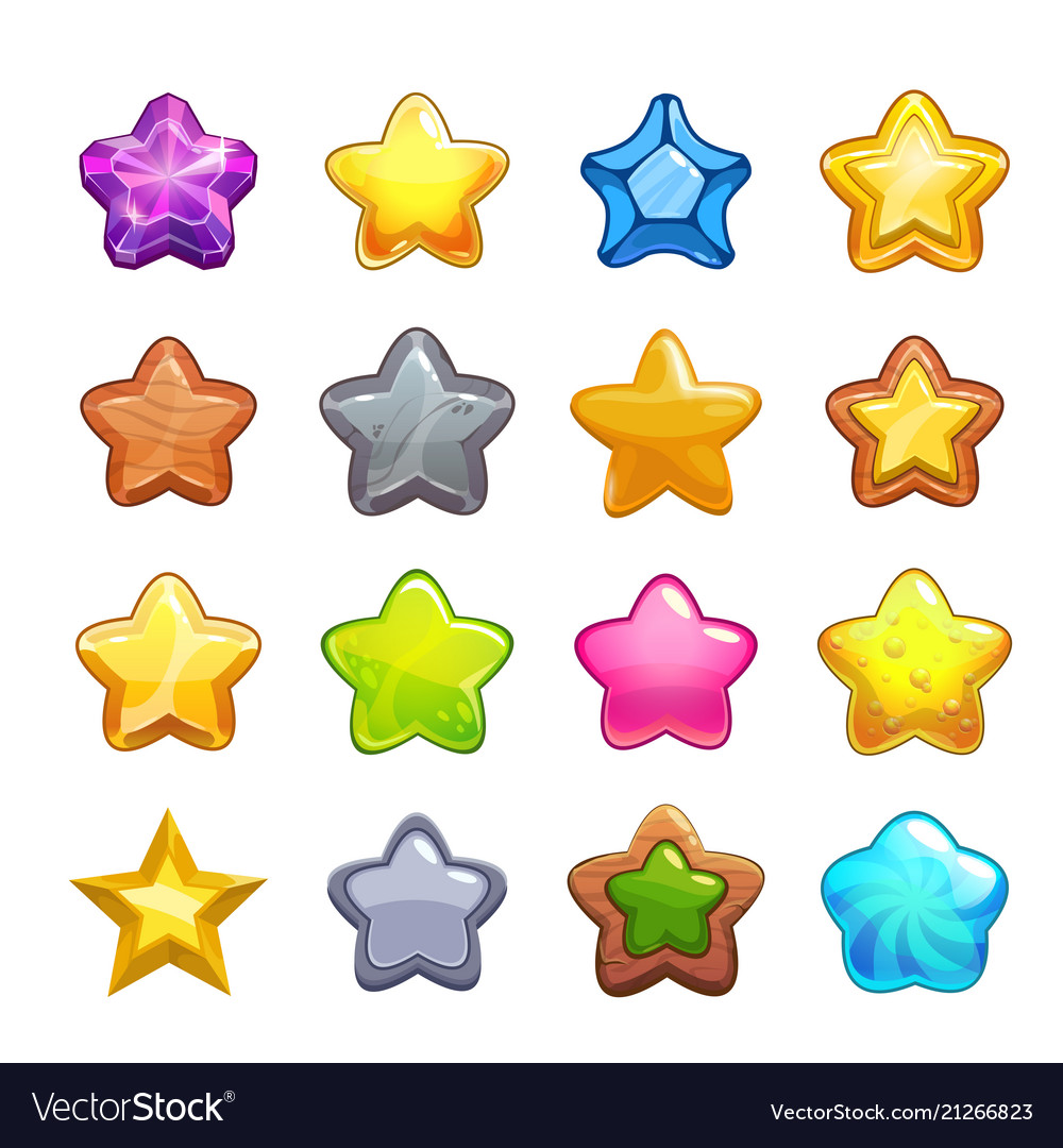 Cartoon colorful star icons set