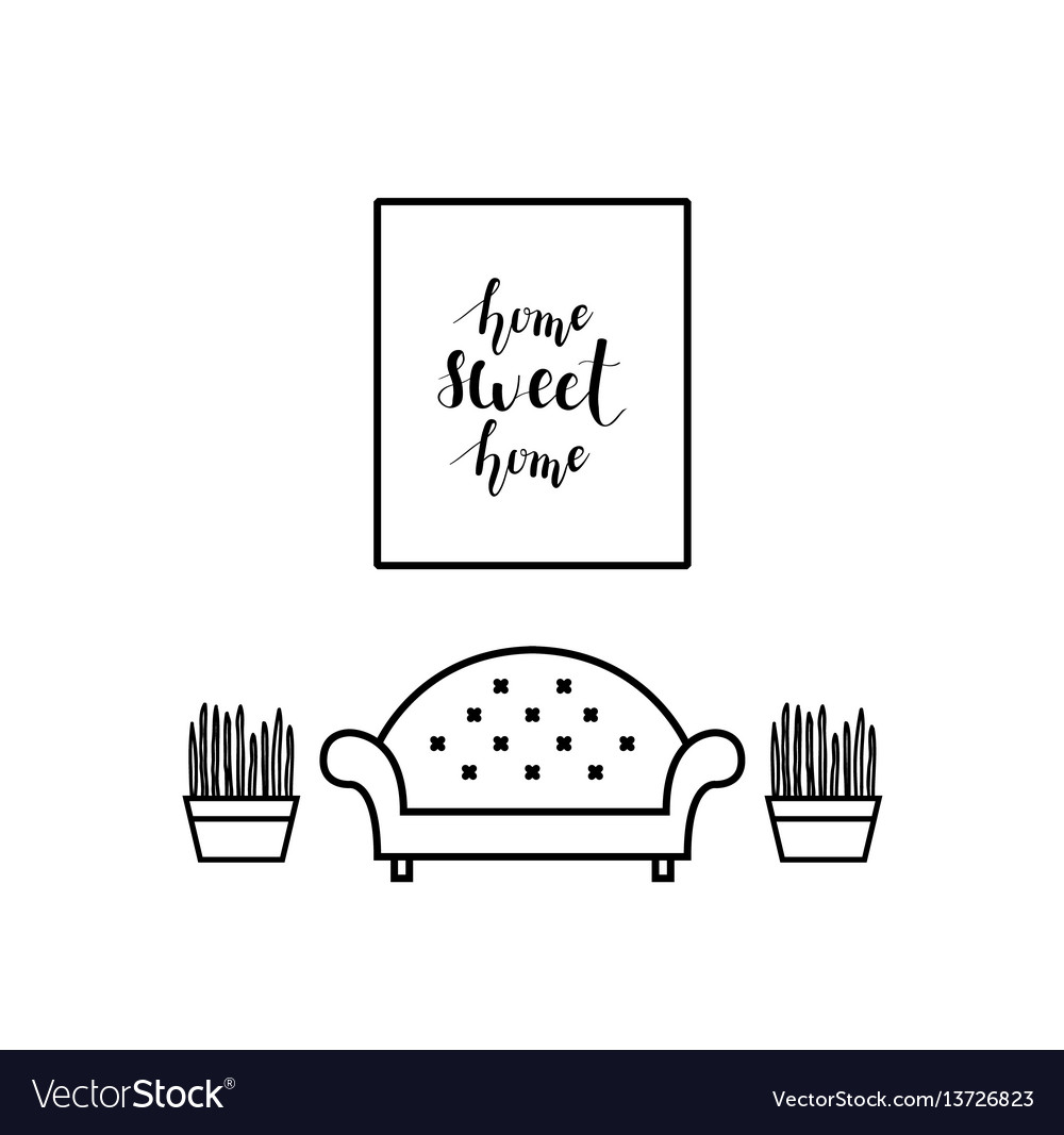 Lettering In A Living Room Vector Image
