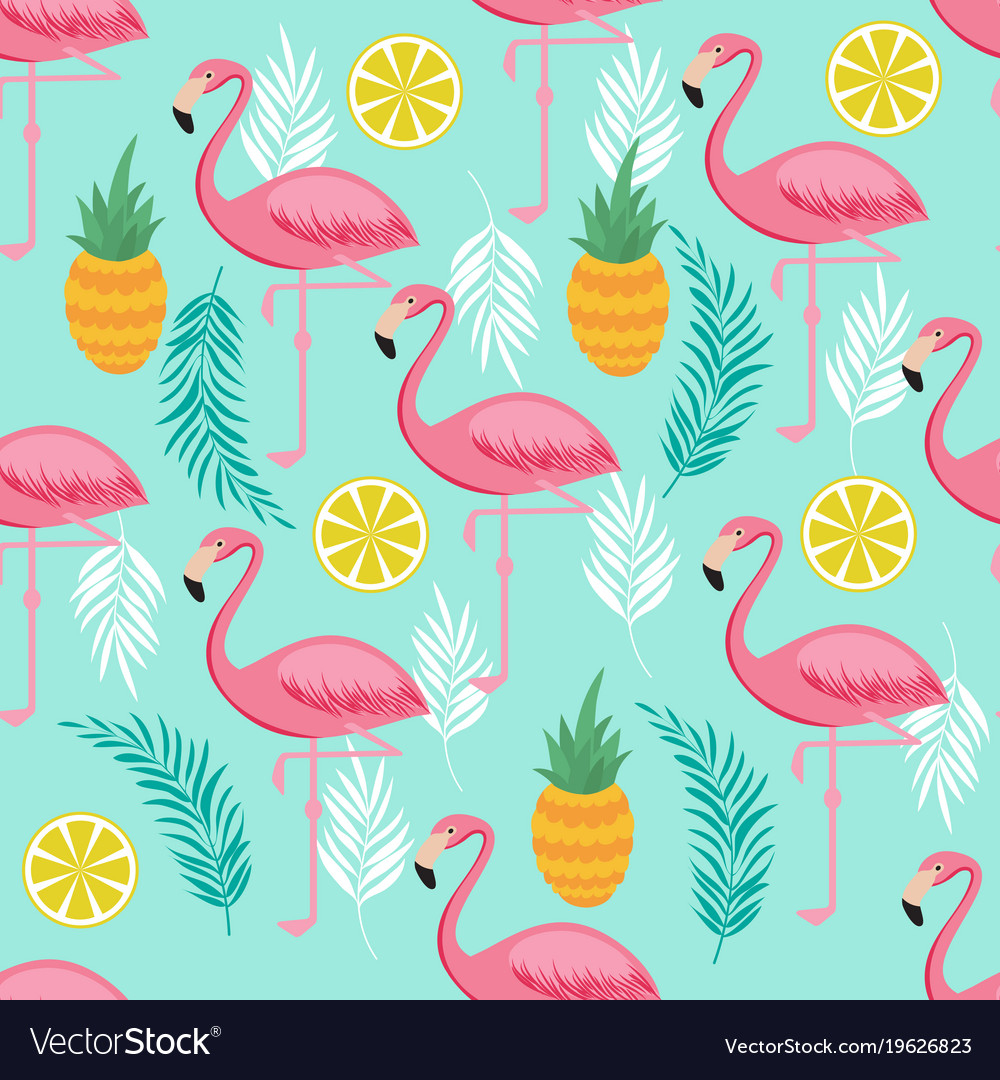 Pink flamingo pineapples and exotic leaves