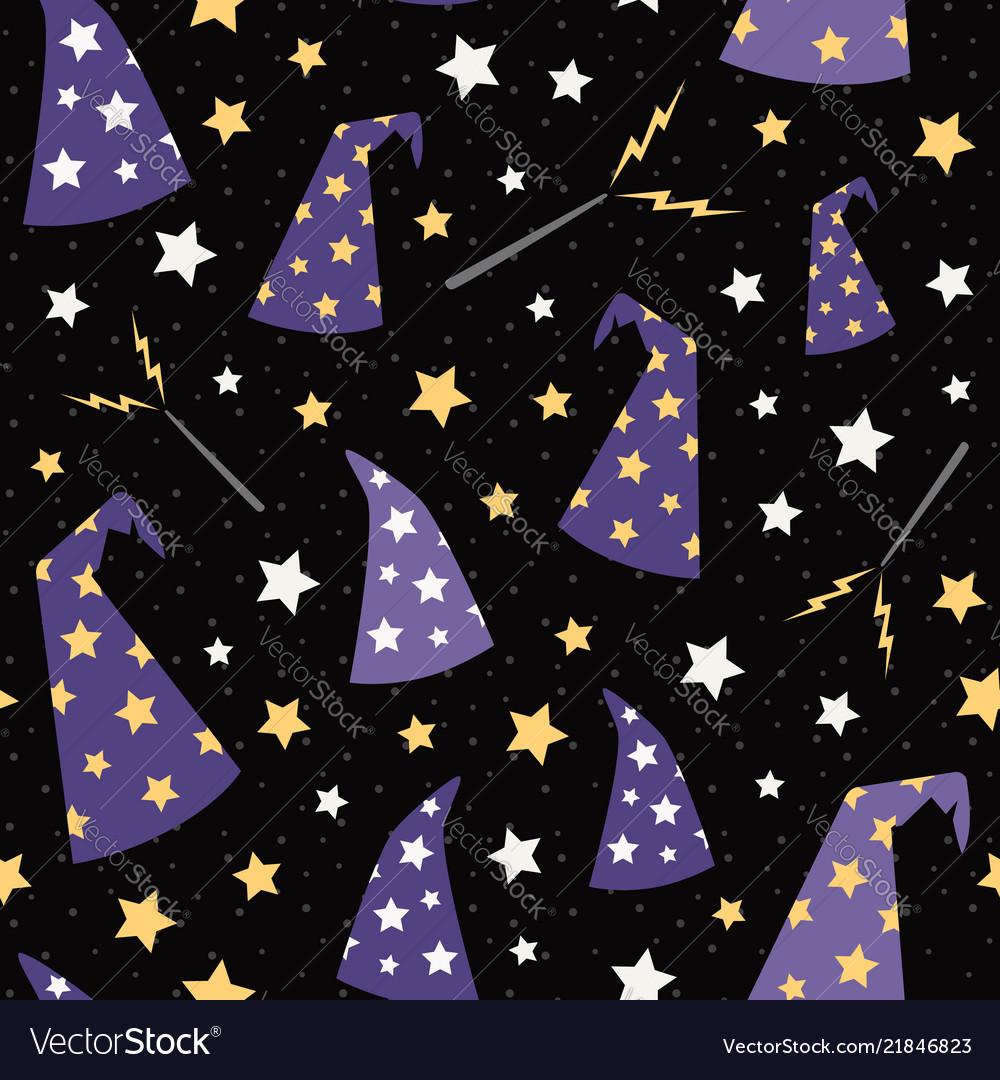 Starry wizard hats seamless pattern
