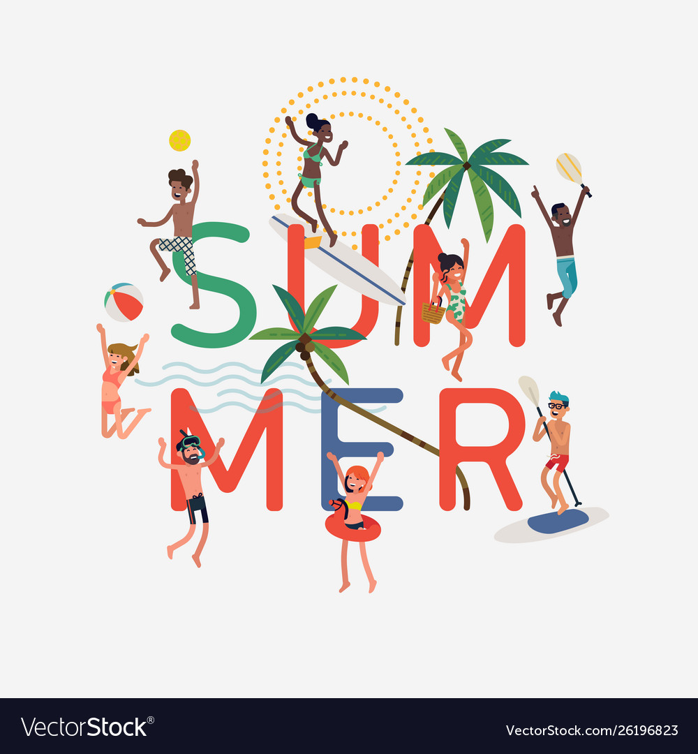 Summer design element with happpy people