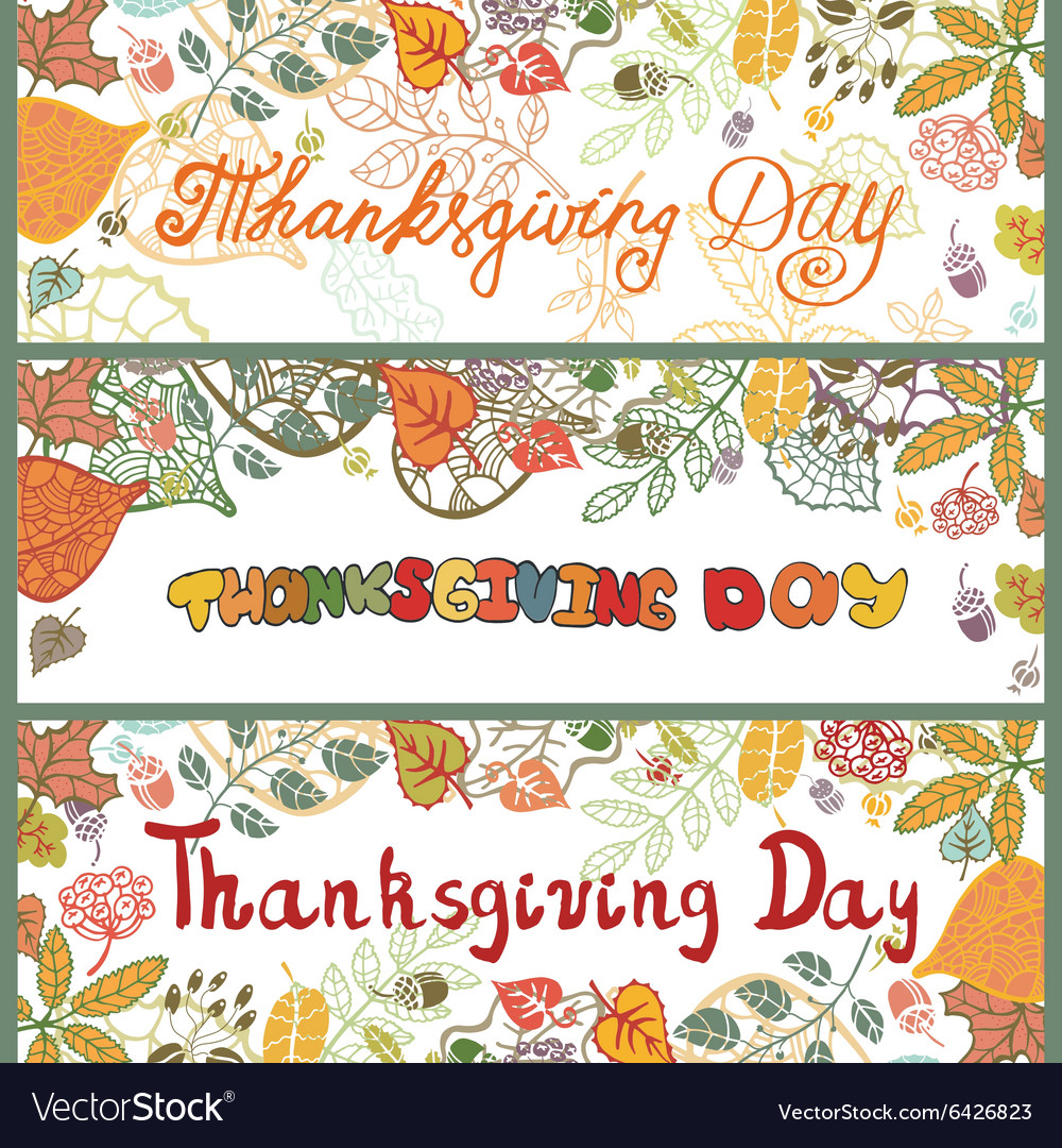 Thanksgiving day bannersColored Autumn leaves