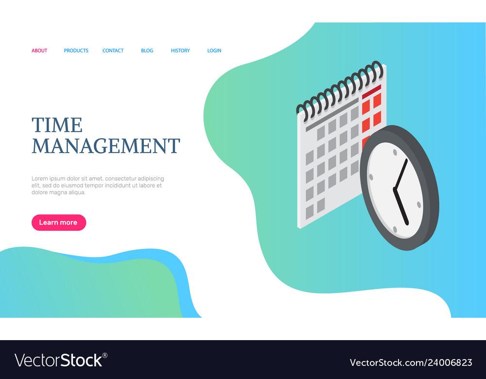 Time management website calendar and clock