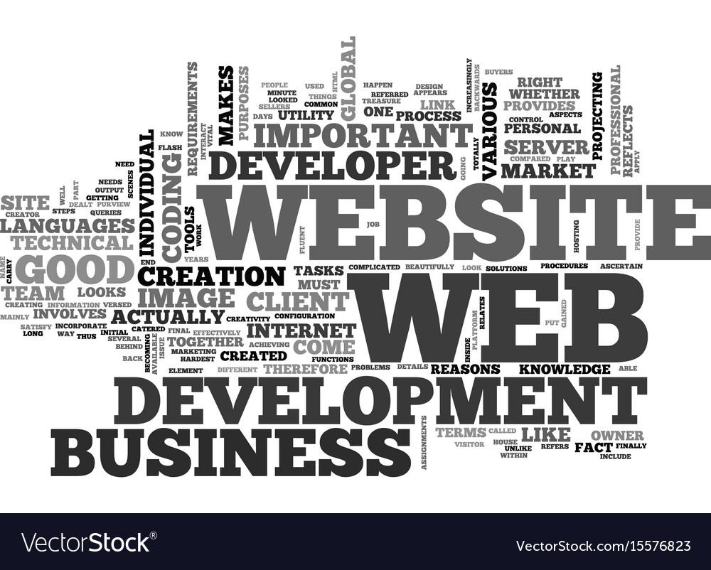 Web development the hardest part text word cloud vector image